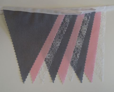 BUNTING - Dark Grey, Pink and Ivory Cream Lace on White Tape - 3m, 5m or 10m